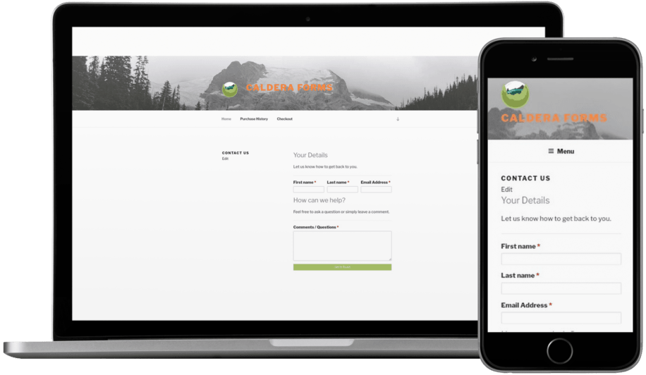 Caldera Forms contact form resizing to look good on any device thanks to the responsive form layout.
